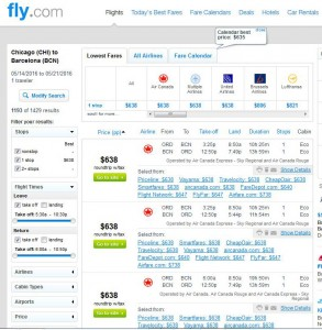 Chicago-Barcelona: Fly.com Search Results