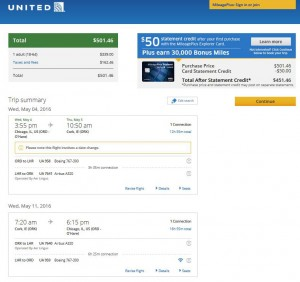 Chicago-Cork: United Booking Page