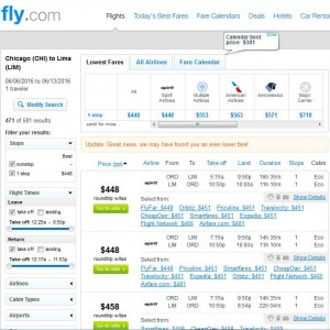 Chicago-Lima: Fly.com Search Results