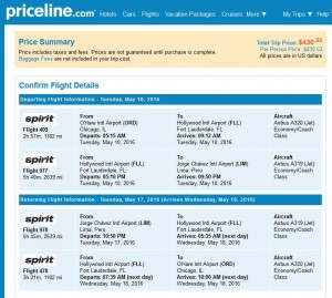 Chicago-Lima: Priceline Booking Page