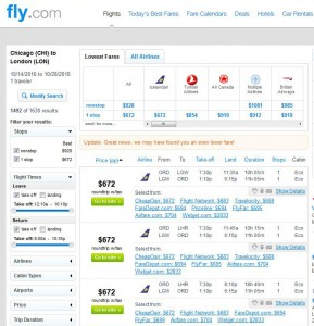 Chicago-London: Fly.com Search Results