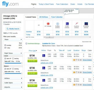 Chicago-London: Fly.com Search Results ($736)