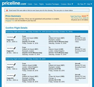 Chicago-London: Priceline Booking Page