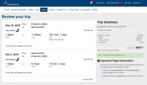 Chicago-London: Travelocity Booking Page