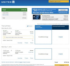 Chicago-London: United Airlines Booking Page