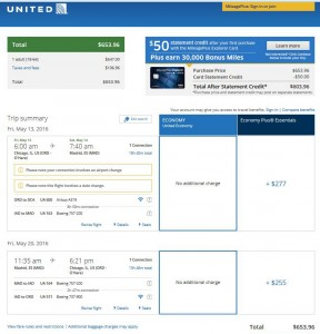 Chicago-Madrid: United Airlines Booking Page