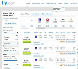 Chicago-Mumbai: Fly.com Search Results