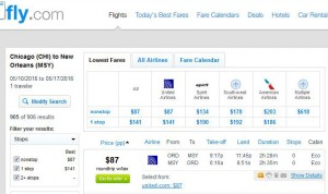 Chicago-New Orleans: Fly.com Search Results