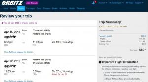 Chicago-Portland: Orbitz Booking Page