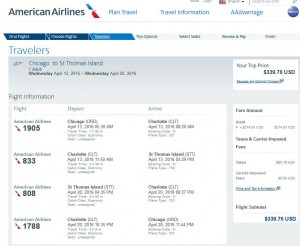 Chicago-St. Thomas: American Airlines Booking Page