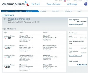 Chicago-St. Thomas: American Airlines Booking Page ($343)