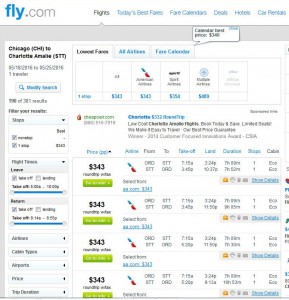 Chicago-St. Thomas: Fly.com Search Results ($343)