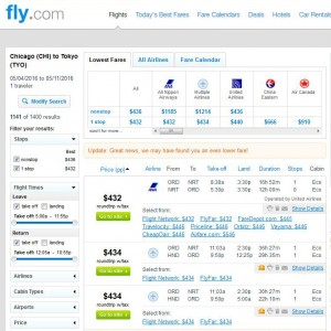 Chicago-Tokyo: Fly.com Search Results