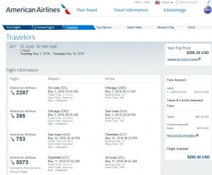 Cleveland-Cancun: American Airlines Booking Page