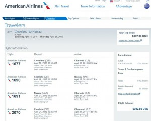 Cleveland-Nassau: American Airlines Booking Page
