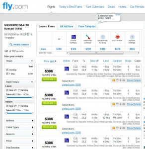 Cleveland-Nassau: Fly.com Search Results
