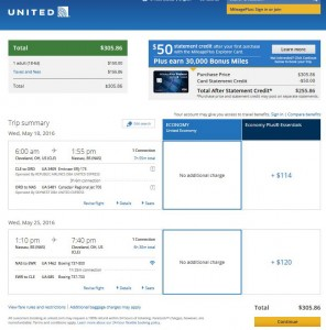 Cleveland-Nassau: United Airlines Booking Page