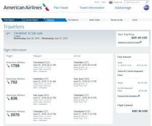 Cleveland-San Juan: American Airlines Booking Page