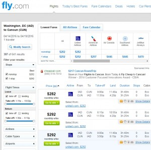 DC to Cancun: Fly.com Results