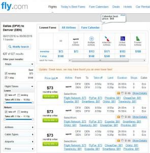 Dallas-Denver: Fly.com Search Results ($81)