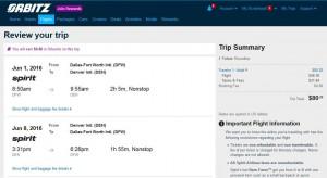 Dallas-Denver: Orbitz Booking Page