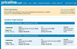Dallas-Denver: Priceline Booking Page