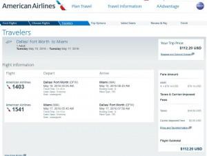 Dallas-Miami: American Airlines Booking Page