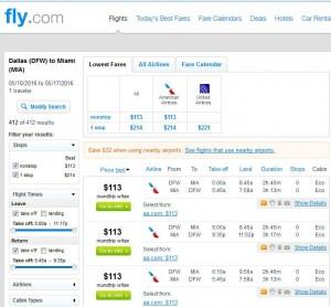 Dallas-Miami: Fly.com Search Results
