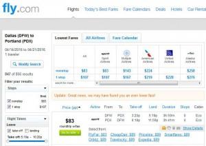 Dallas-Portland: Fly.com Search Results