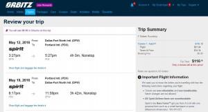 Dallas-Portland: Orbitz Booking Page