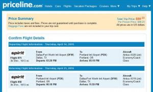 Dallas-Portland: Priceline Booking Page