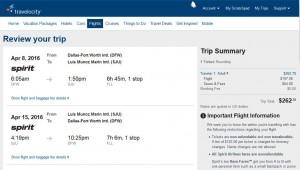Dallas-San Juan: Travelocity Booking Page