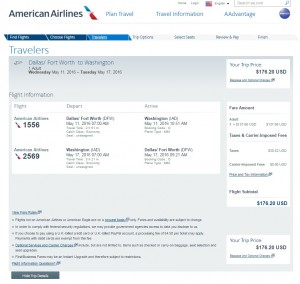 Dallas to D.C.: American Airlines Booking Page