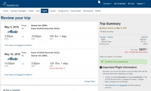 Denver to Kona, Hawaii: Travelocity Booking Page