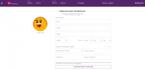 Denver to San Francisco: Virgin America Booking Page