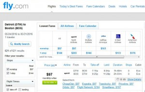 Detroit-Boston: Fly.com Search Results