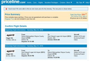 Detroit-Boston: Priceline Booking Page