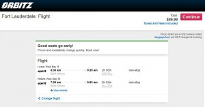Detroit-Fort Lauderdale: Orbitz Booking Page