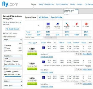 Detroit-Hong Kong: Fly.com Search Results