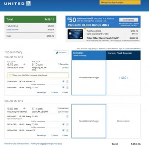 Detroit-Hong Kong: United Airlines Booking Page