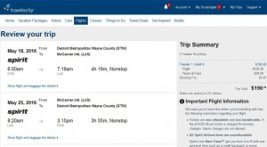 Detroit-Las Vegas: Travelocity Booking Page