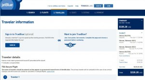 Detroit-Nassau: JetBlue Booking Page