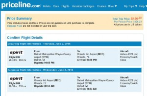 Detroit-Orlando: Priceline Booking Page