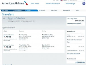 Detroit-Philadelphia: American Airlines Booking Page