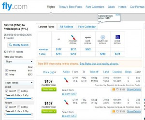 Detroit-Philadelphia: Fly.com Search Results