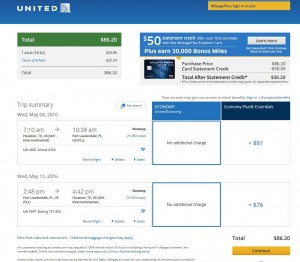 Houston-Fort Lauderdale: United Airlines Booking Page