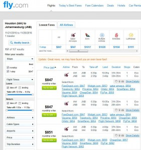 Houston-Johannesburg: Fly.com Search Results