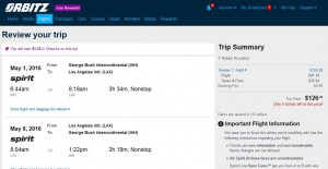 Houston-Los Angeles: Orbitz Booking Page