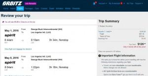 Houston-Los Angeles: Orbitz Booking Page