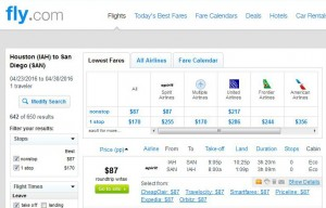 Houston-San Diego: Fly.com Search Results